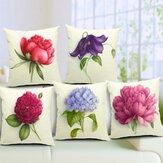 Fiori rosa caso biancheria di cotone tiro cuscino divano letto ammortizzatore dell'automobile copertura decorazione casa