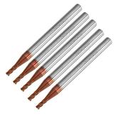 Drillpro 5pcs 2mm 4 Flutes Tungsten Carbide End Mill Cutter HRC55 AlTiN Coating End Mill Cutter
