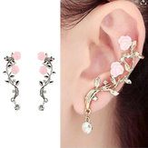Elegant Rosa Flower Womens Cuff Earring Silver Gold Color