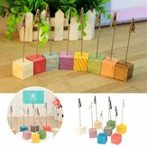 8Pcs Wooden Place Card Holders Wedding Office Meeting Table Invitation Name Card Clips