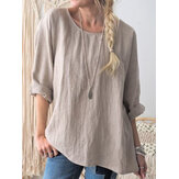 Original Women Round Neck Long Sleeve Solid Color Cotton Blouse