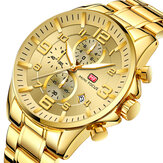 Original MINI FOCUS MF0278G Reloj Royal Men de acero inoxidable dorado