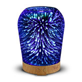 Loskii LH-963 3D LED Lights Oil Diffuser Ultrasonic Cool Mist Aromatherapy Humidifier 16 Color Changing Starburst Light Lamp 100ML Volume Humidifier