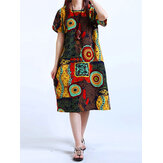 Women Printed Short Sleeve Dresses