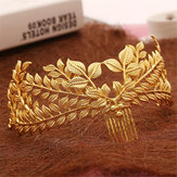 Bride Gold Folha Headdress Headbrand Roman Cabelo Crown Vintage 20's Headpiece Comb