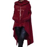 Mujer Sudadera casual de color sólido con capucha irregular dobladillo