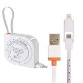Original AUGIENB Cinta métrica de la expansión del cable de datos de carga micro-USB 2-en-1 BMI para IOS Android