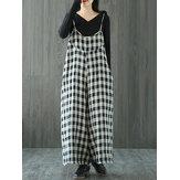 S-5XL Black and White Plaid Cotton Jumpsuits