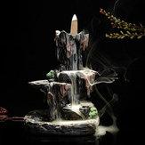 Backflow Incense Cone Burner Censer Holder Mountain Waterfall Stream Home Fragrant Furnace Decor