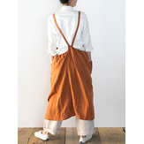 Japanese Sleeveless Backless Strap Linen Apron Solid Dress
