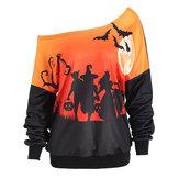 Original Halloween Pumpkin Bat Printed One Shoulder Sweatshirt