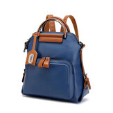 Women Faux Leather Pure Color Backpack Large Capacity