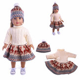 18'' American Girl Doll Deer Sweater Dress Hat Clothing Set Without Reborn Baby Doll
