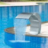 60 × 30cm Cascade de caractéristiques en cascade de piscine avec bassin d'accent de piscine en acier inoxydable