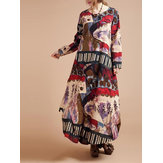 Original Women Floral Printed Long Sleeve O-Neck Long Dresses