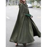 Kadın Casual Kapşonlu Gevşek Cape Ceket Palto Pelerin