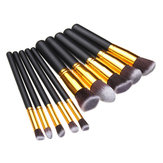 10Pcs Black Synthetic Cosmetic Makeup Tool Blush Powder Brush Set Kit