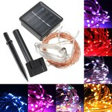 10M 100 LED Solar Powered Copper Wire Ambiance String Fairy Light +2m Down-lead