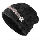 Women Girl Crochet Strap Knitting Caps Button Decorative Baggy Beanie Hat