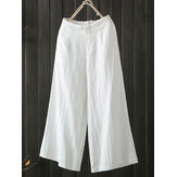High Elastic Waist Pocket Cotton Pants
