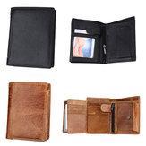 IPRee®UomoRFIDPortafogliocortoper bloccaggio Vera Pelle Portafoglio portautensili per carta di identità