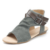 Original Roman Canvas Buckle Decoration Peep Toe Flat Sandals