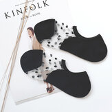 Women Invisible Crystal Lighter Boat Socks Summer Thin Breathable Dot Glass Silk Socks