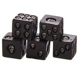 KCASA FS-01 1Set of 5  Black Skull Dice Grinning Skull Deluxe Devil Poker Dice Gothic Gambling Dice Tower With Death