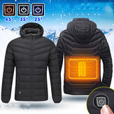 Mens USB Heated Warm Back Hooded Winter Jacket Motorcycle Skiing Riding Coat