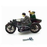 Motorrad mit Beifahrer im Beiwagen Retro-Uhrwerk Wind Up Tin Toys With Box