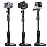 YT-1288 Miroir à télécommande extensible Bluetooth Monopied Selfie Stick pour appareil photo portable Gopro