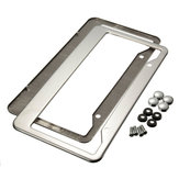 2 Pcs Sliver Stainless Steel License Plate Frames With Screw Caps Tag Cove