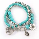 Original Sweet Bohemian Blue Turquoise Beaded Multilayer Bracelet