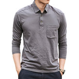 Men's Cotton Washed POLO Shirt Fashion Lapel Loose Long Sleeved T-shirt
