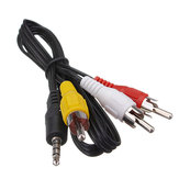 3.5MM Jack Male To 3 RCA Adapter Cable Video Audio Cable DV MP4 Convertor Multimedia Wire