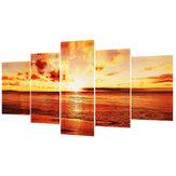 5 PCS / Ensemble Grand Bord de Mer Coucher de Soleil Toile Mur Art Imprimer Peinture Image Papier peint Sans Cadre