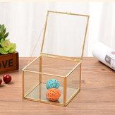 Original Square Geometric Clear Glass Jewelry Caja Boda Compromiso
