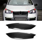 Pair Car Carbon Fiber Headlight Eyebrow Eyelid ABS Trim Cover for VW Golf GTI R MK5 05-07