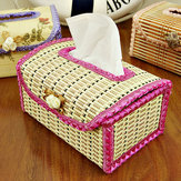 Bamboo Tissue Boxes Handmade Facial Napkin Cover Holder Car Living Room Toliet Paper Case