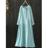 Original Women Cotton Loose Solid Color Long Sleeve Pockets Dress
