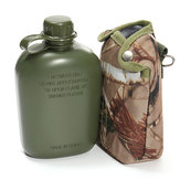 BIKIGHT 1L Army Green Water Drinking Bottle with Cloth Cover for Cycling Outdoor Sports