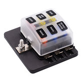 iMars™ CS-579B1 6 Way Blade Fuse Box Holder with LED Warning Light for Car Boat Marine Trike 12V 24V