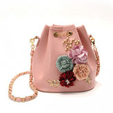 Stylish PU Leather Flower Pattern Bucket Bag