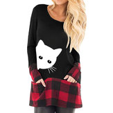 Original Mujer Casual Plaid Patchwork bolsillos laterales Camisetas