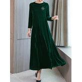 Elegant Women Velvet Long Sleeve Dress with Pockets