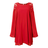 Casual Lace Chiffon Lantern Sleeve Backless Mini Dress For Women