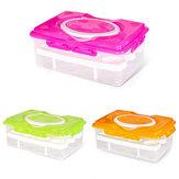 Doble capa 24 Grid Egg Caja Cocina Contenedor de almacenamiento de alimentos Organizador Nevera Crisper