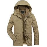 Mens Fleece Thick Warm Big Size Hooded Detachable Outdoor Jacket Winter Coat