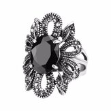 Black Crystal Antique Silver Finger Rings Hollow Flower Punk