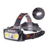 XANES®1300LMT6+2xCOBLED Lampe frontale étanche 4 modes Course en plein air Camping Randonnée à vélo Lumière 2x18650 DC Interface rechargeable